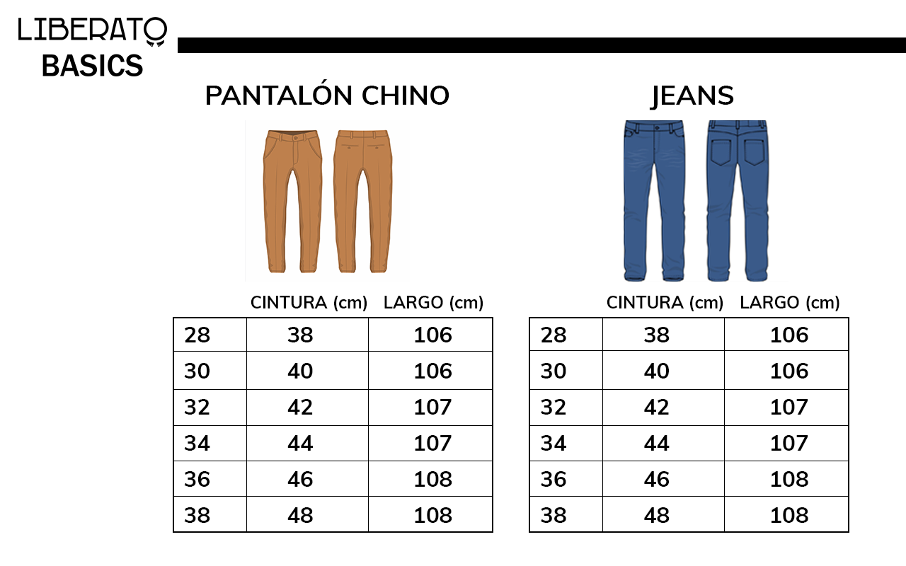 Medidas de pantalones de Liberato Basics
