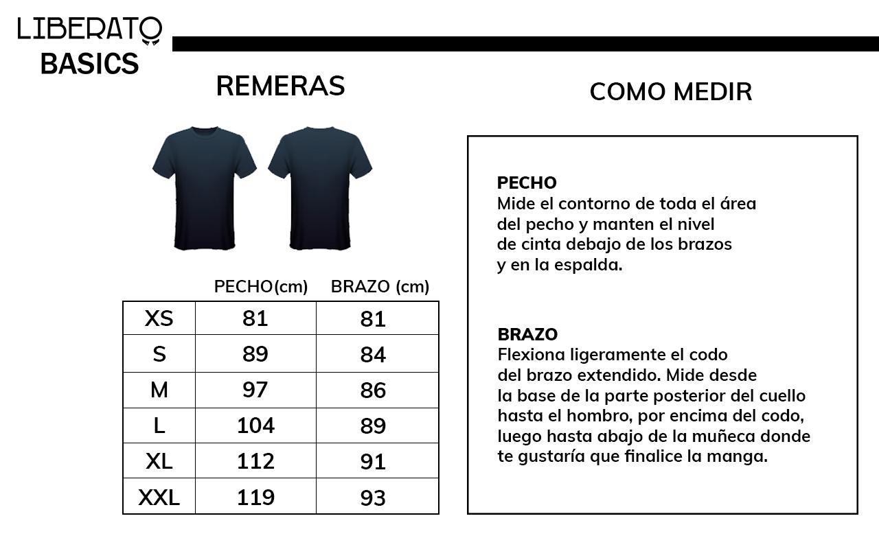 Medidas de remeras de Liberato Basics