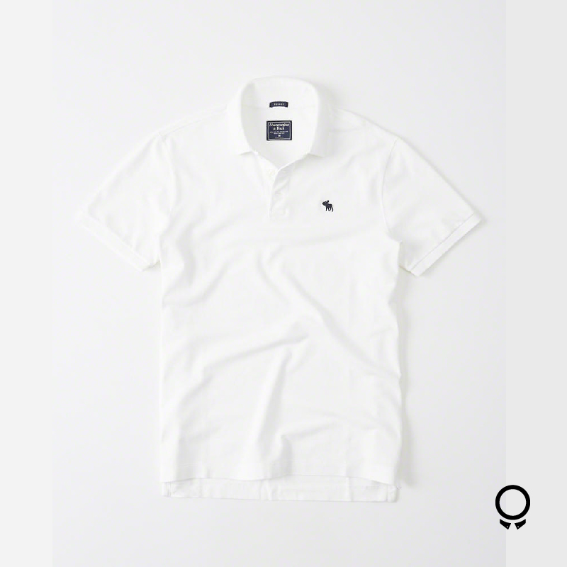REMERA ABERCROMBIE CUELLO POLO BLANCO