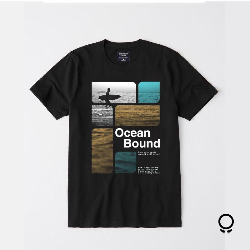 REMERA ABERCROMBIE NEGRA ESTAMPA OCEAN BOUND