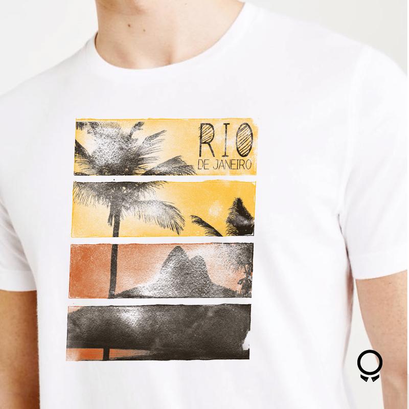 REMERA ABERCROMBIE BLANCA ESTAMPA RIO DE JANEIRO