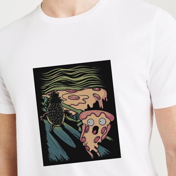 REMERA FIJI BLANCA ESTAMPA PIZZA