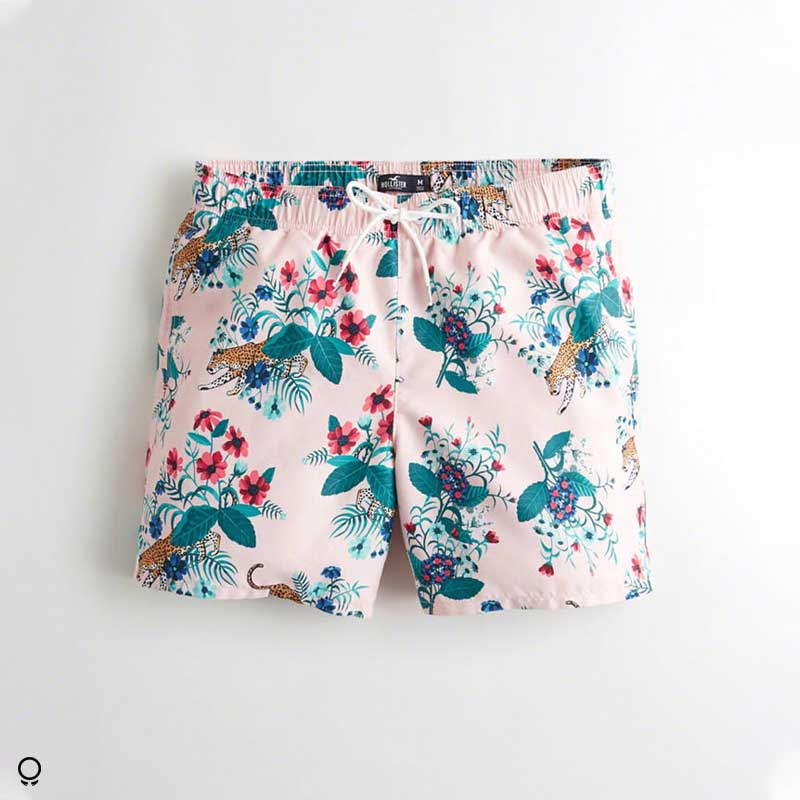 SHORT DE BAÑO HOLLISTER TURQUESA FLOREADO