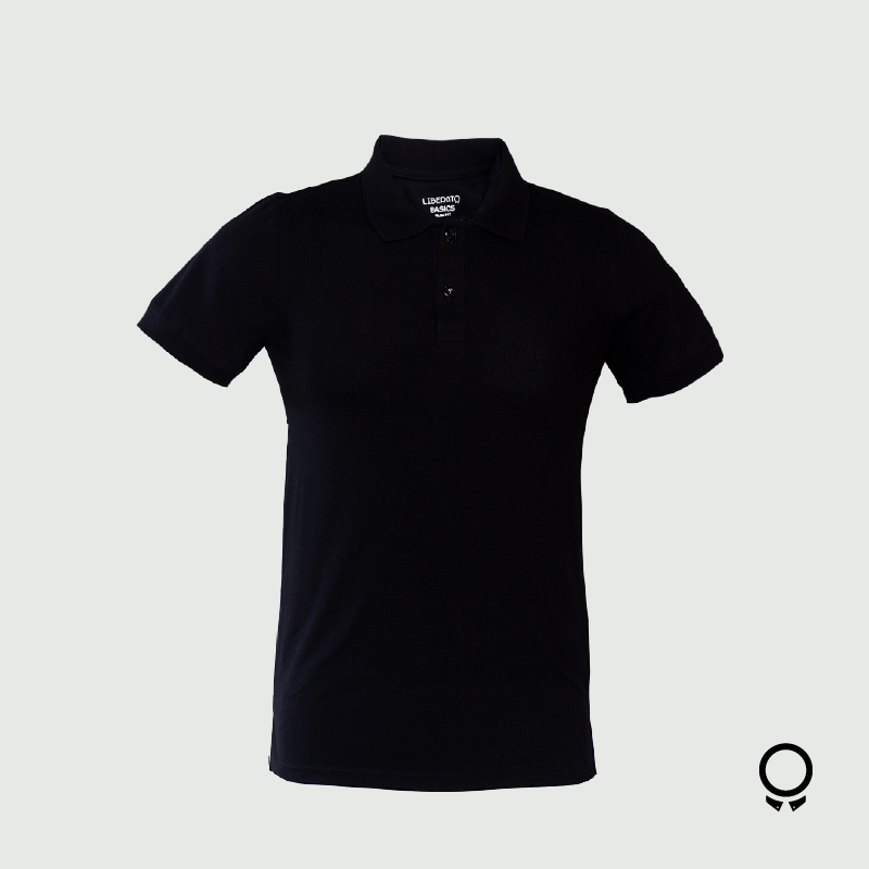 REMERA LIBERATO BASICS CUELLO POLO NEGRA