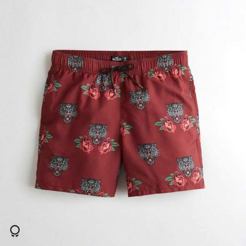 Short De Baño Hollister Bordo Con Tigres