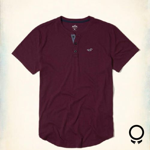 Remera Hollister  Mangas Cortas Cuello Henley Bordo